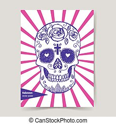Sketch mexican skull in vintage style