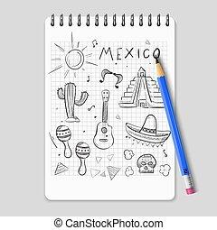Sketch mexican symbols set