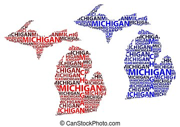 Sketch Michigan (United States of America) letter text map, Michigan map - in the shape of the continent, Map Michigan - red and blue vector illustration