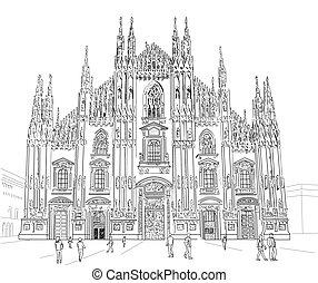 Sketch Milan Cathedral - Milan Cathedral. Gothic...