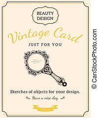 Sketch mirror and text. - Vintage design for card or...