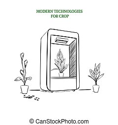 Sketch Modern Botanical Technology Concept