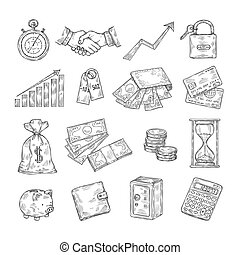 Sketch money. Hand drawn coin pile piggy bank credit cards safe dollar vintage banking business finance vector doodle icons