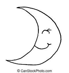 sketch., moon., jeune, illustration, main, arrière-plan., vecteur, noir, blanc, dessin, sourire, contour