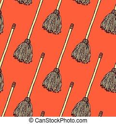 Sketch mop in vintage style