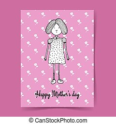 Sketch Mother's day illustration with cute girl