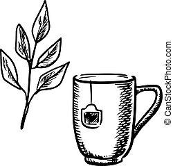 Sketch mug with tea leaves