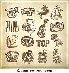 sketch music icon element collection on grunge background