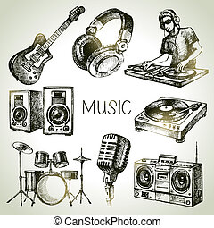 Sketch music set. Hand drawn vector illustrations of Dj...