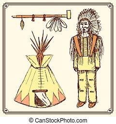 Sketch native american set in vintage style