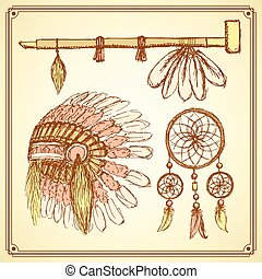 Sketch native american set in vintage style, vector