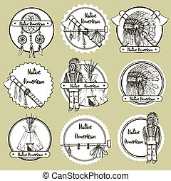Sketch Native american symbols in vintage style, vector set of emblems