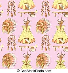 Sketch native american's symbols in vintage style