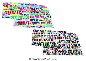 Sketch Nebraska (United States of America, Cornhusker State) letter text map, Nebraska map - in the shape of the continent, Map Nebraska - color vector illustration