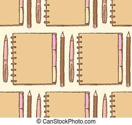 Sketch notebook, pen and pencil