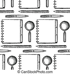 Sketch notebook, pen, zoom and pencil,