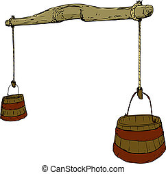 Cartoon sketch of 18th century carved wooden yoke with rope holding two large buckets for carrying water