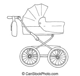 Sketch of a baby stroller. Vector illustration
