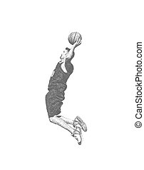 sketch of a basketball player dunking on white