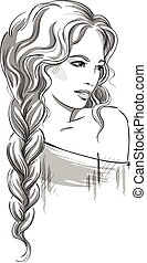 beautiful girl with braid. - Sketch of a beautiful girl with...