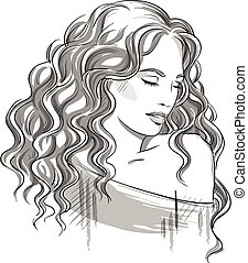 Sketch of a beautiful girl with curly hair. Black and white. Fashion illustration, vector