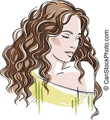 beautiful girl with curly hair - Sketch of a beautiful girl...