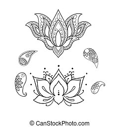 Sketch of a beautiful lotus on a white background. - A...