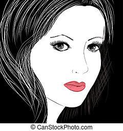 sketch of a beautiful woman