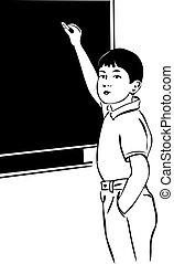 sketch of a boy with a blackboard chalk