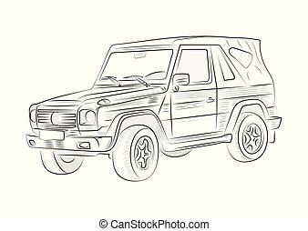 Sketch of a car on a white background. Vector illustration.