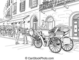 Sketch of a carriage in the street