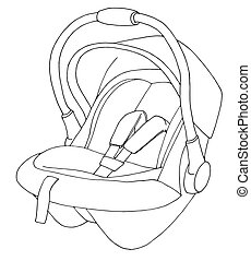Sketch of a children's car seat. Child safety. Vector illustration