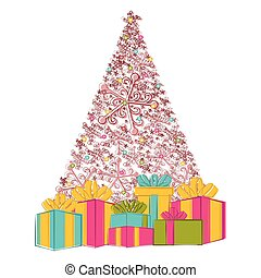 Sketch of a christmas tree with presents