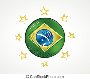 Sketch of a circle with the Flag of Brazil