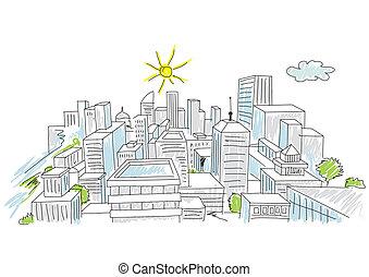 sketch of a city