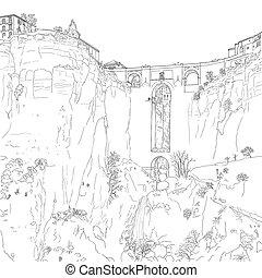 Sketch of a city ston bridge - drawing of a stone bridge ...
