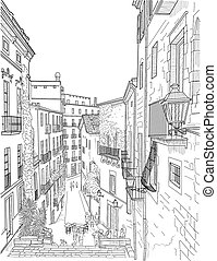Sketch of a city street - Sketch of the old city street in ...