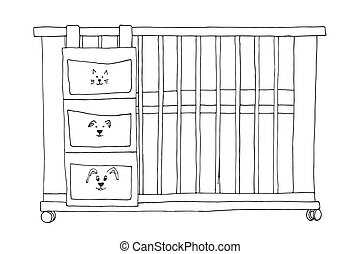 Sketch of a cot on a white background. Vector