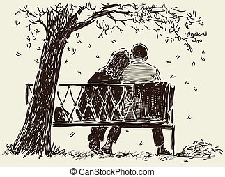sketch of a couple on a park bench
