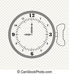 Sketch of a creative clock on a transparent background with a hand winding. Vector element template or icon.