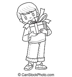sketch of a cute boy who is holding a gift box with a bow in his hands, coloring, isolated object on a white background, vector illustration,