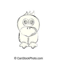 Sketch of a cute chicken