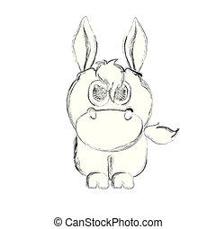 Sketch of a cute donkey