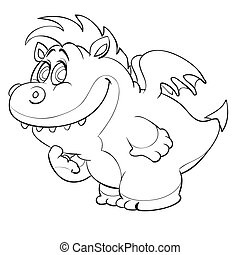 sketch of a cute dragon with small wings, coloring book, cartoon illustration, isolated object on a white background, vector illustration,
