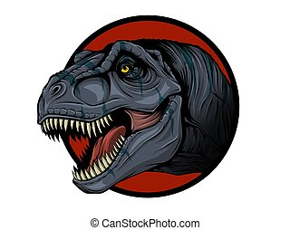 Sketch of a dinosaur head with an open mouth. Tyrannosaur.