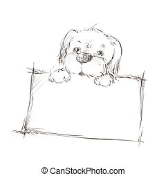 Sketch of a dog holding banner