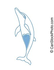 Sketch of a Dolphin. - Cute funny dolphin with heart vector...