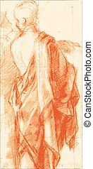 Sketch of a draped man on old paper - A Standing Draped Man...