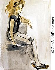 Sketch of a female figure