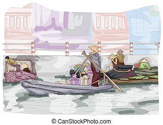 Floating Market - Sketch of a Floating Market in Vietnam